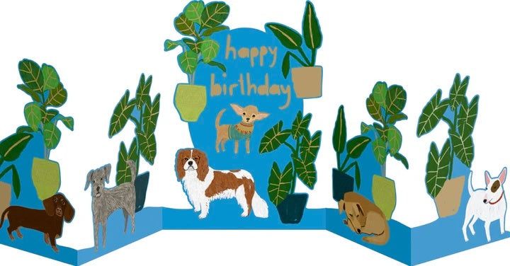 Dog Palais Concertina Birthday Card