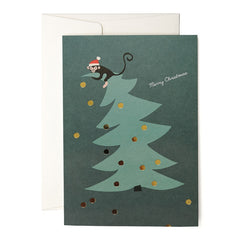 Monkey Christmas Tree Card