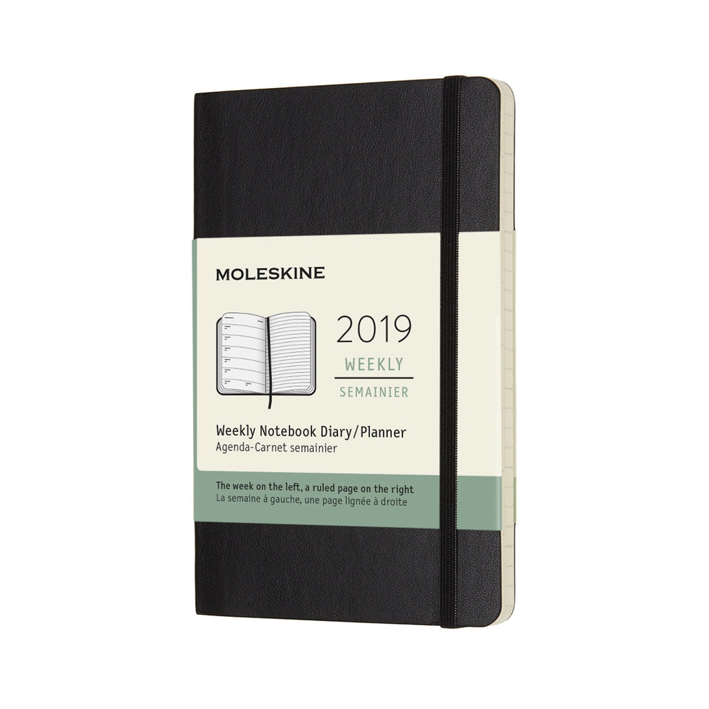 2019 Moleskine Weekly Pocket Planner Softcover Black