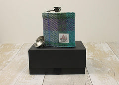 Turquoise & Purple Check Boxed Hip Flask