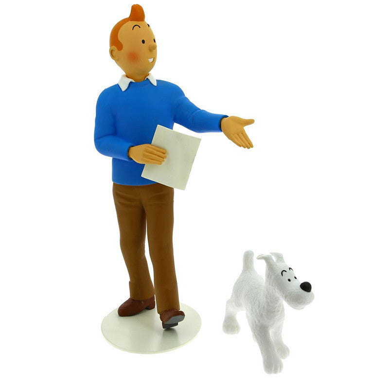 Hand-Painted Resin Statue of Tintin and Snowy
