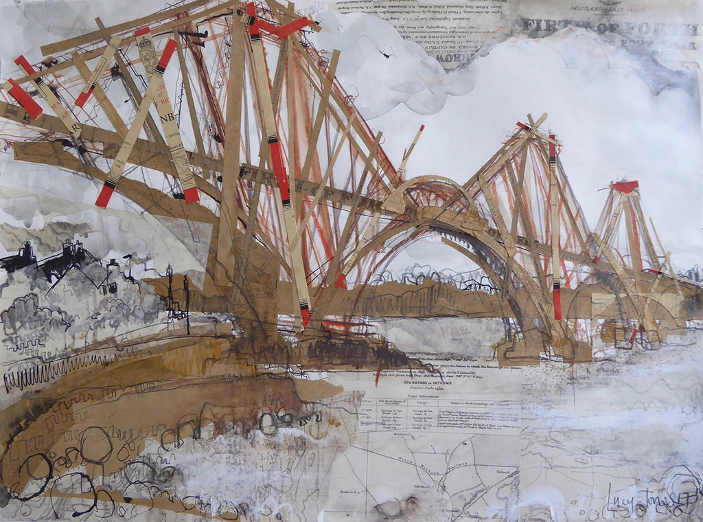 Forth Rail Bridge Edinburgh Card by Lucy Jones