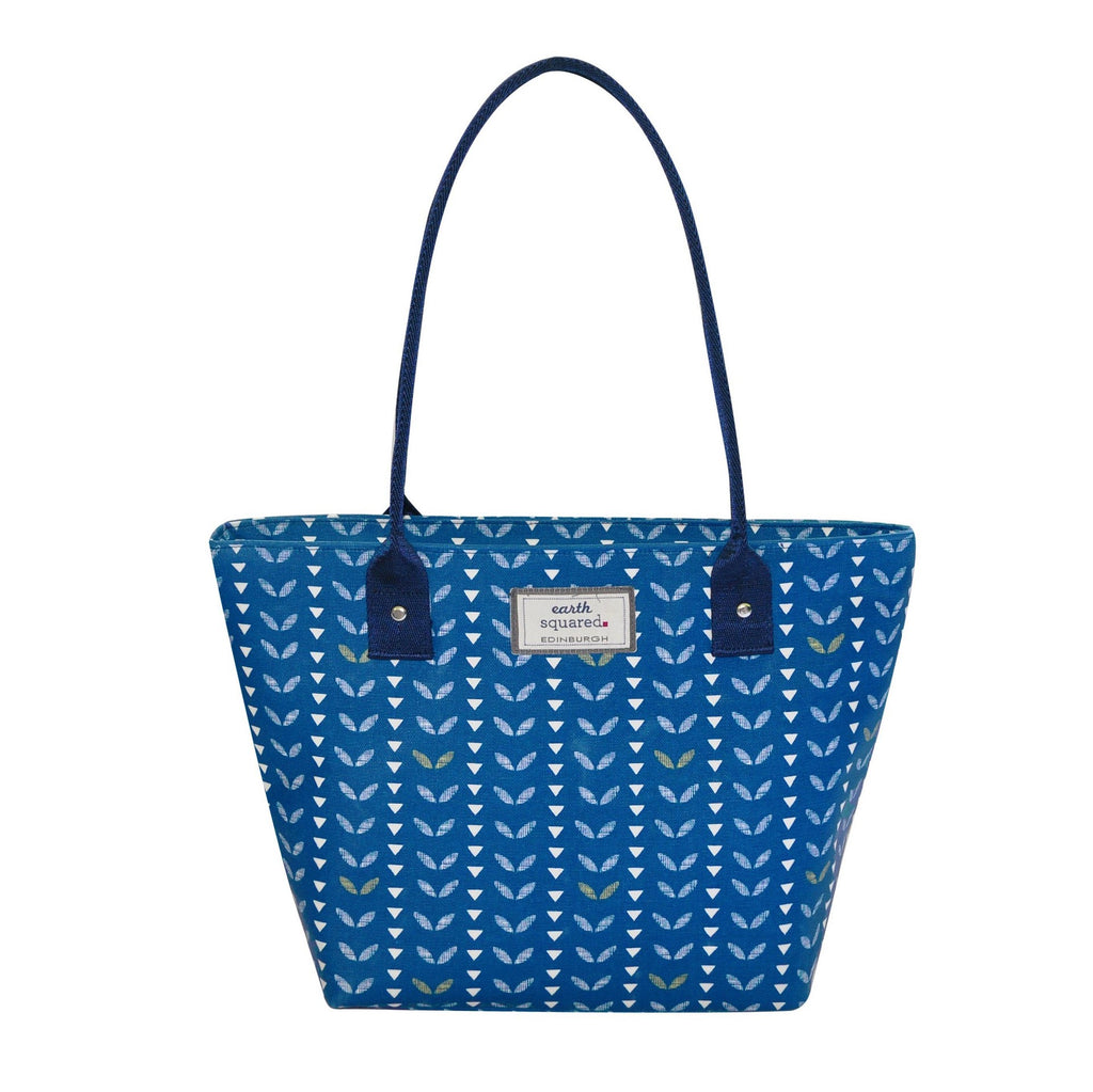 Navy Leaf Oil Cloth Tote Bag