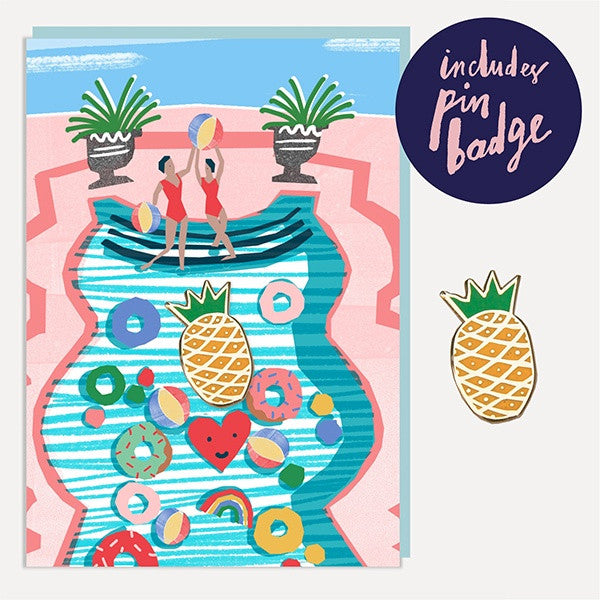 Pool Party Enamel Pin Badge Card
