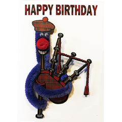 Nessie With Bagpipes Birthday Card