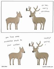 Mistletoe Stuck to Your Antler Card
