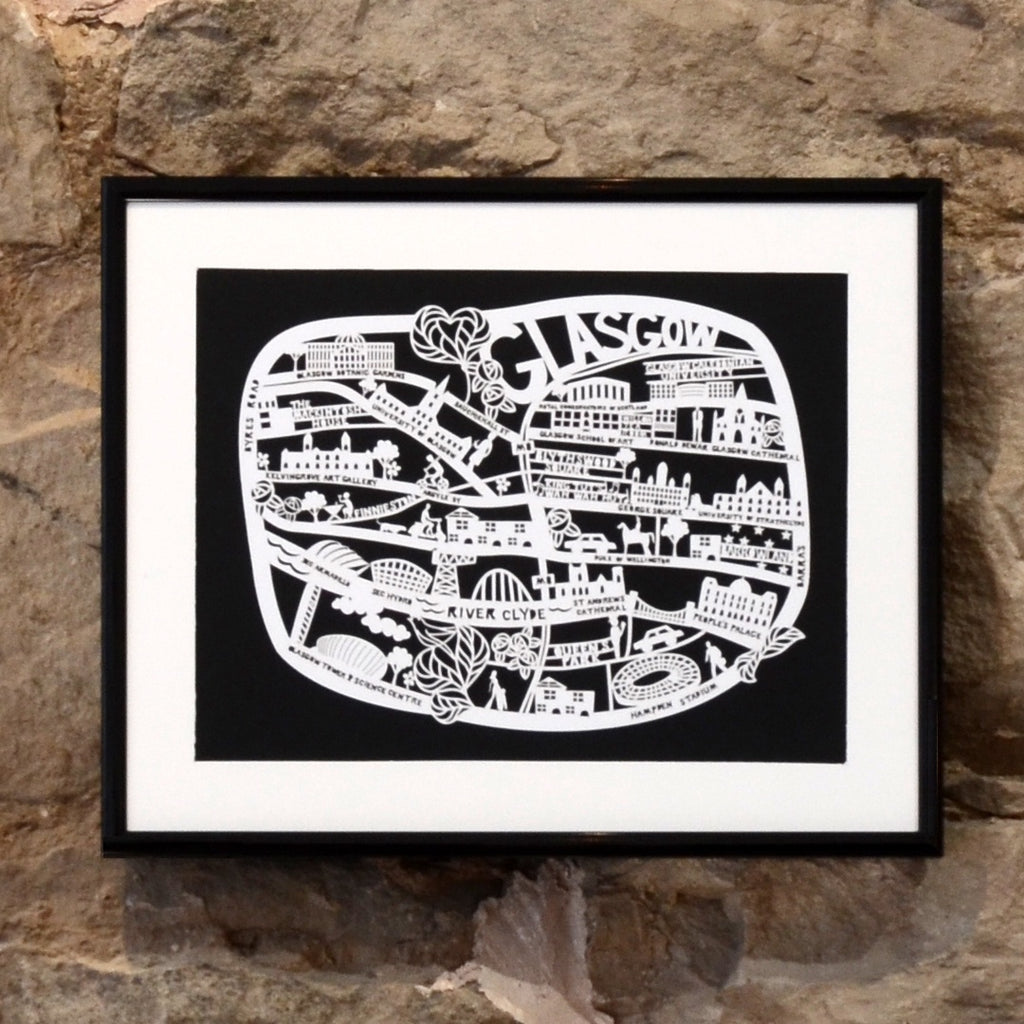 Lasercut A4 Glasgow Map - White on Black