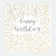 Happy Birthday Gold Twig and Berry Card