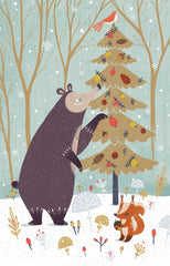 Bear Dressing Tree Christmas Card Pack