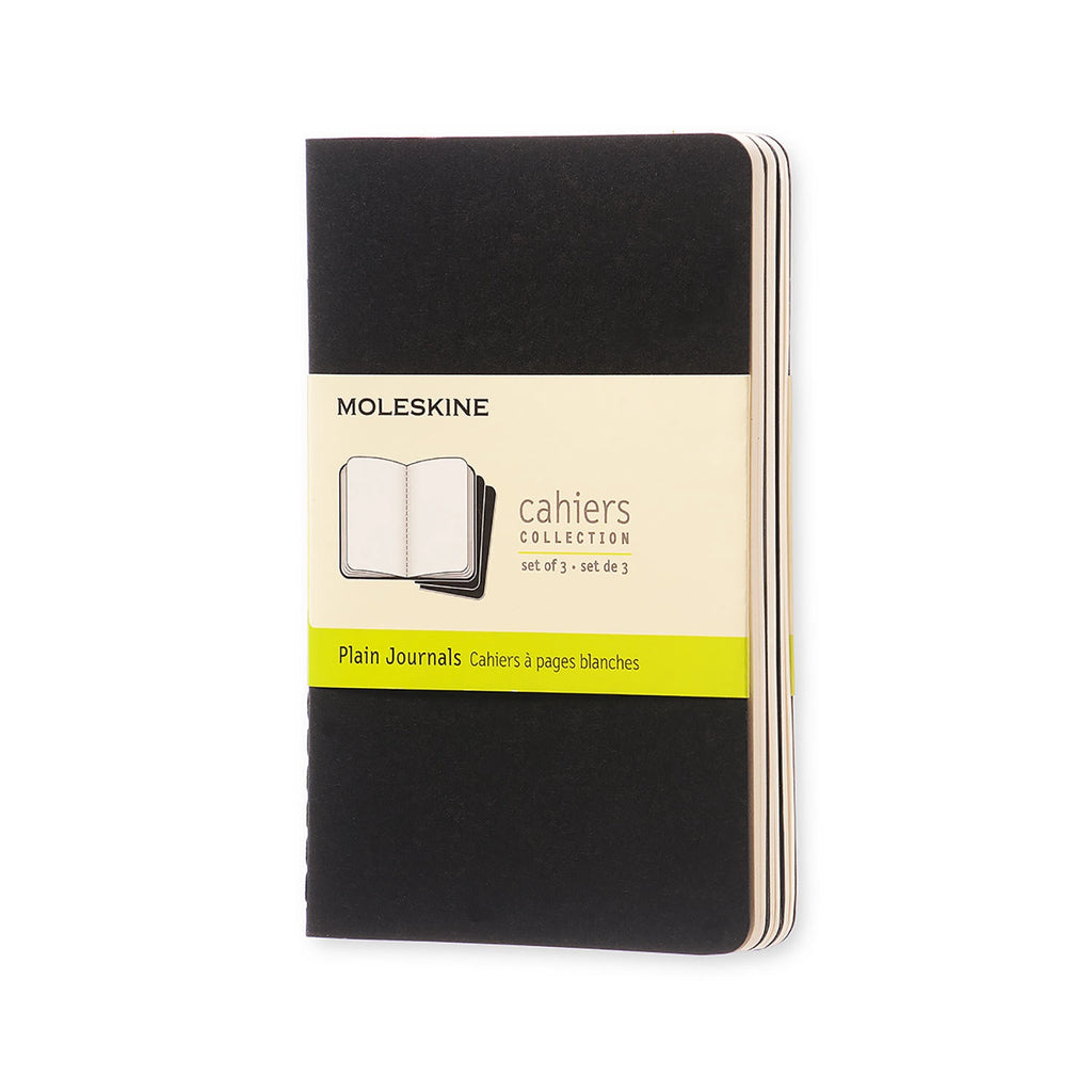 Moleskine Cahiers Set of 3 Plain Pocket Journals Black