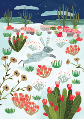 Wild Rabbit in Cactusland Christmas Card