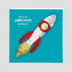Have An Awesome Birthday Rocket Sequin Patch Card