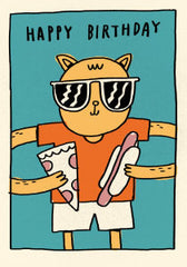 Happy Birthday Pizza Hot Dog Cat Card