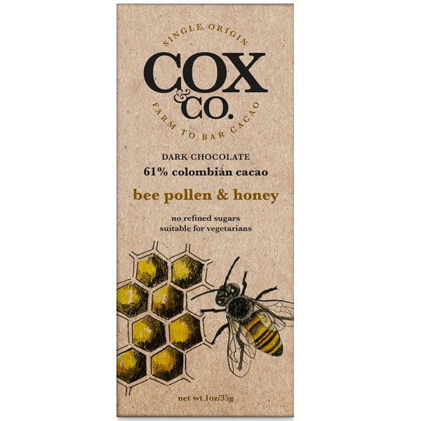 Cox and Co Bee Pollen and Honey Chocolate Bar 35g