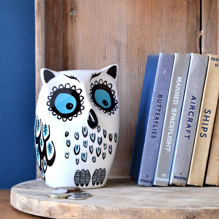 Ceramic Blue Owl Money Box