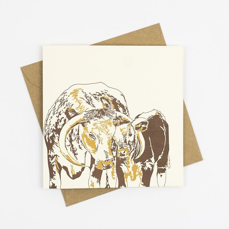 Longhorn and Baby Letterpress Card