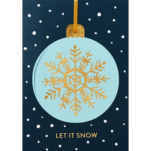 Let It Snow Snowflake Bauble Christmas Card