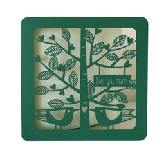 Love You Mum Green Leaves and Birds Card