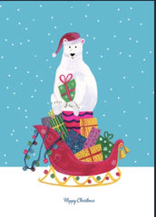 Polar Bear Happy Christmas Card