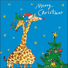 Two Giraffes Christmas Card