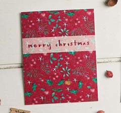 Merry Christmas Mistletoe Pattern Seed Card