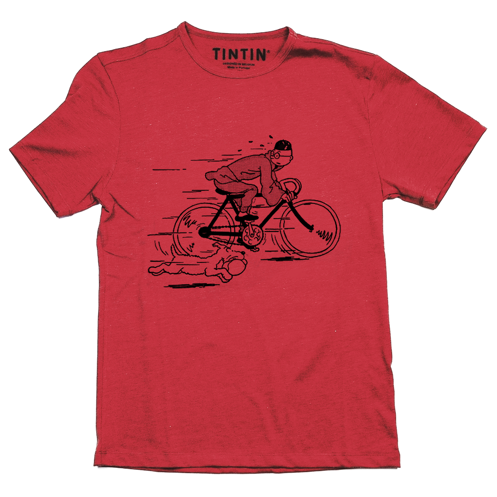 Tintin and Snowy Bike T-Shirt Red