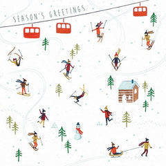 Season's Greetings Skiing Christmas Card Pack