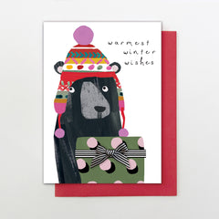 Warmest Winter Wishes Bear Christmas Card