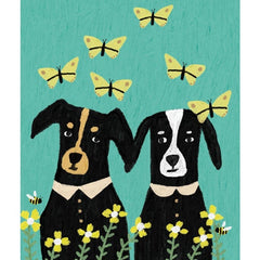 2 Dogs With Butterflies Card
