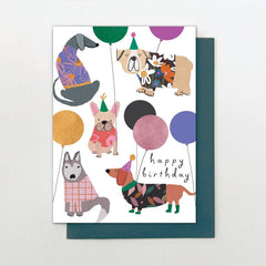 Happy Birthday Dogs and Foiled Balloons Card