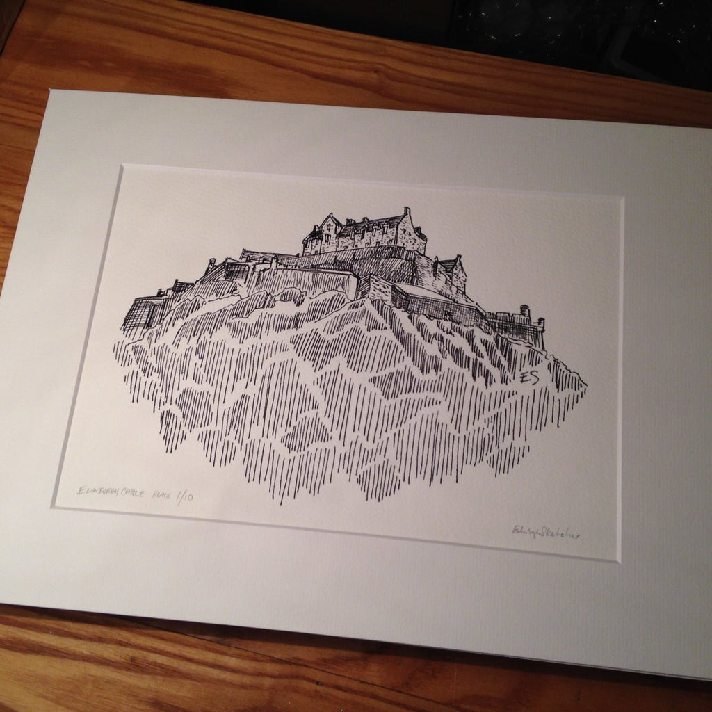 Edinburgh Castle Limited Edition Giclee Print Black