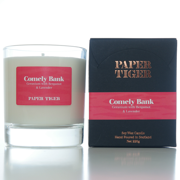 Paper Tiger Comely Bank Geranium Bergamot and Lavender Large Candle