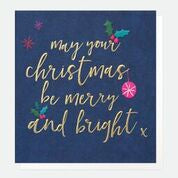 MERRY AND BRIGHT CHRISTMAS NAVY PACK OF 5