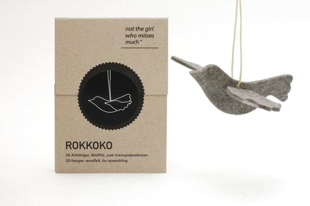 Light Grey Felt Hanging Bird Decoration