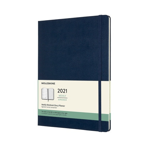 Moleskine 2021 X-Large Weekly Planner Hardcover Sapphire Blue