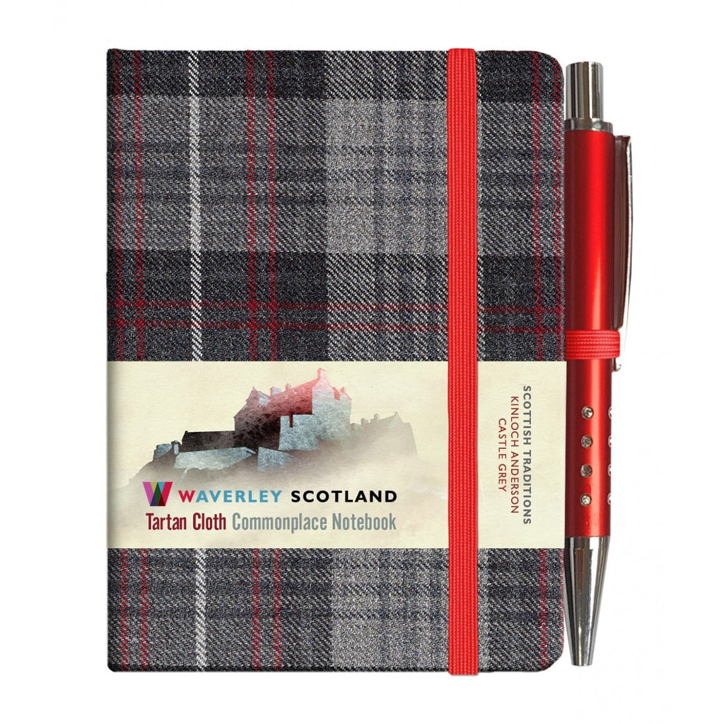 Mini Tartan Notebook with Pen - Castle Grey