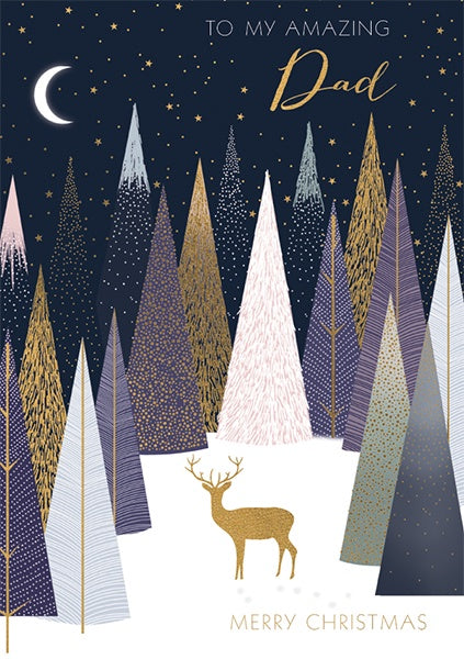 Deer In The Trees Amazing Dad Christmas Card