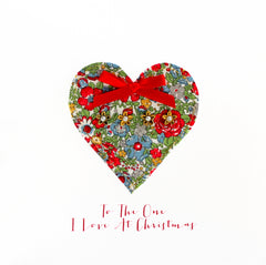 Fabric Heart To The One I Love At Christmas Card
