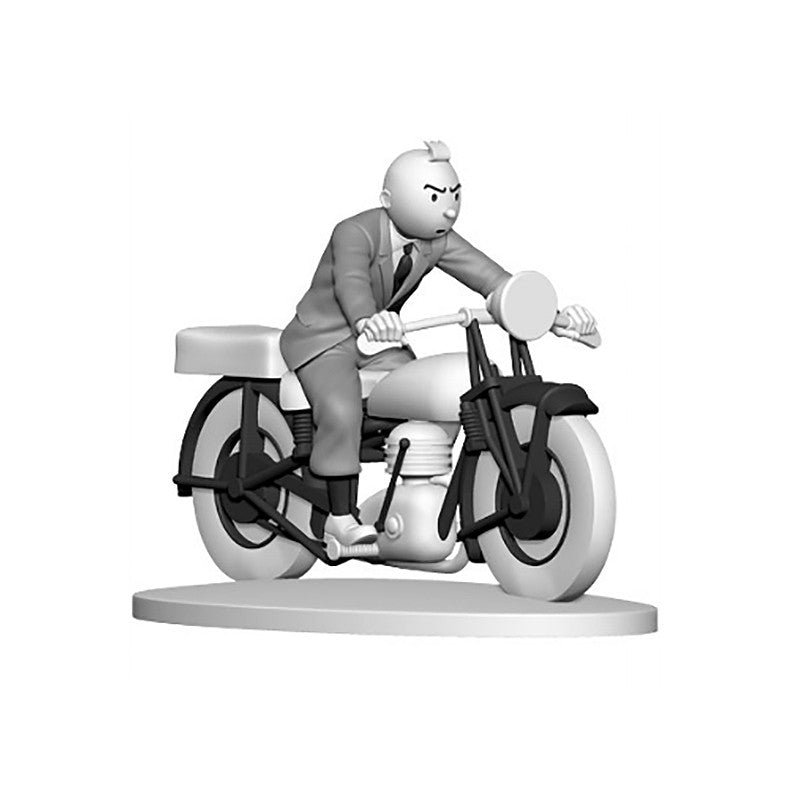 Monochrome Tintin on a Motorbike Figure