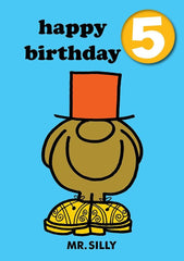 Mr Men Age 5 Badge Birthday Card