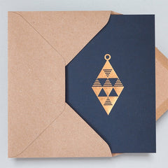 Diamond Bauble Navy & Rose Gold Christmas Card