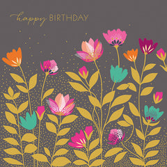 Happy Birthday Flowers on Grey Card