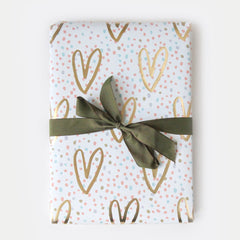 Gold Hearts and Confetti Sheet Wrap