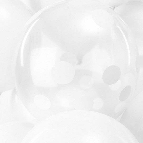 White Dots Pack of 12 Balloons
