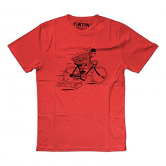 Tintin and Snowy Bike Kids T-Shirt Red