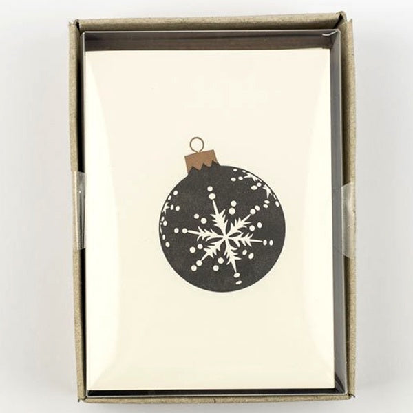 Black and Gold Christmas Bauble Pack of 8 Cards