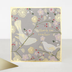Grey Floral Thank You Teacher Card