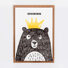 King of the Day Bear Postcard