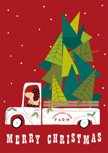 Tree on Truck Christmas Card