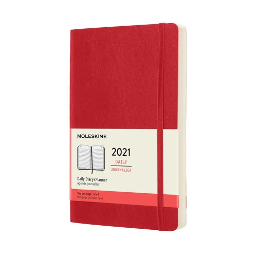 Moleskine 2021 Large Daily Planner Softcover Red